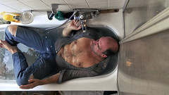 bath (marcostetter) Tags: wetlook wet wetclothes wetclothing fullyclothed wetjeans wetshirt barefeet bathtub wetpants hairy chest masculine manly selfie jeans blue freestock public
