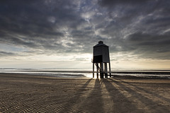 Low lighthouse Sundown: (Coless66) Tags: sunset lighthouse burnham somerset seascape pillars shadows clouds canon 1020mm manfrotto moody leefilters lephotography fishingport history structure wooden village sandy ripples lookout