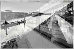 Is this Art... (Ody on the mount) Tags: doubleexposure bw sw blackandwhite schwarzweis abstrakt abstract art monochrome bremen wasser water