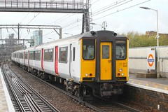 abellio Greater Anglia . 317345 . Bethnal Green Station , East London . Friday afternoon 27th-September-2019 . (AndrewHA's) Tags: railway bethnalgreen station eastlondon abellio greater anglia class 317 electric multiple unit emu 317345 2h34 liverpool street cambridge semifast passenger train rain york works commuter service