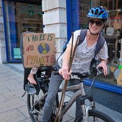 No planet B (paul indigo) Tags: paulindigo bicycle climatechange lady people portrait protest sign streetphotography
