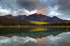 Patricia Lake sunrise reflections (BDFri2012) Tags: lake patricialake pyramidlake sunrise jasper canada national park jaspernationalpark clouds cloudy landscape forest fallcolor fallcolors fall reflection reflections aspentrees