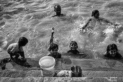 Life along the river IV (karmajigme) Tags: family man woman children childhood boys girls human humanity water river ganga varanasi uttarpradesh india travel monochrome blackandwhite noiretblanc bw nikon