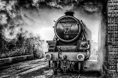 Down at the Shed (photofitzp) Tags: atmosphere bw black5 blackandwhite gcr grime lms loughborough smoke steam grease oil soot