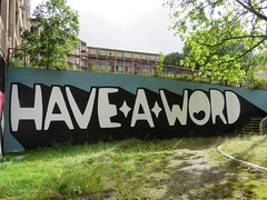 Have A Word by Kid Acne, Sheffield 2019 (Dave_Johnson) Tags: haveaword kidacne artist art publicart graffiti streetart sheffieldstreetart typography lyrics gallery exhibition picture painting paint s1 s1artspace parkhill sheffield yorkshire southyorkshire mural