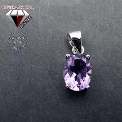 Pendentif améthyste ovale en argent 925 (olivier_victoria) Tags: argent 925 pendentif violet améthyste chaine ovale pourpre