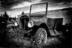 One Fine Automobile (Crusty Da Klown) Tags: one fine automobile auto car vintage cariboochilcotin 100milehouse bc britishcolumbia canada canon digital bw black white monochrome summer trip contrasts lighting