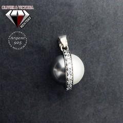 Parure perles double face blanche noire en argent 925 (olivier_victoria) Tags: parure argent 925 boucles oreille boucle doreille pendentif eau perle ronde blanche noire