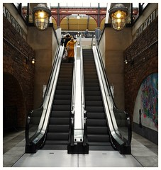 Escalated (joanneharlow70) Tags: thevaults boltontowncentre escalators streetphoto streetshots streetphotography colourstreetphotography colourphotography graffitiart architecture shoppingcentre