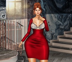 ♚ #771 ♚ (Caity Saint) Tags: avale dress cosmopolitan event wasabi redhead ak maitreya akeruka bento head sl secondlife pixels avatar backdrop doll