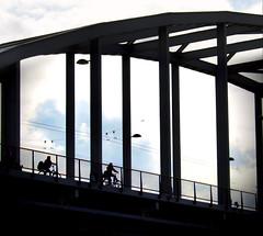 Framed ( Bridge Too Far) (Clare-White) Tags: framed smileonsaturday bridge frame arnhem silhouette cycle sky raw nikon3199