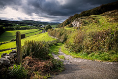 28th September 2019 (Rob Sutherland) Tags: path track bridleway sign finger fingerpost walk route trail farm farming agriculture agricultural field livestock sheep uk england english britain british cumbria cumbrian sky dramatic stormy sun cloud