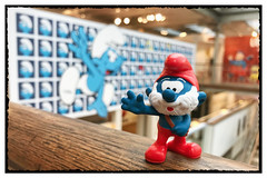 At the Belgian Comic Strip Center... (hd_lego) Tags: belgium comics brussels peyo comicsartmuseum stripmuseum cbdb schtroumpfs papasmurf smurfs smurf