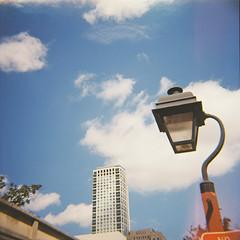 Lamppost and Building (Tom Ipri) Tags: filmphotography mediumformat dianaf philadelphia filmisnotdead shotonfilm philly 120film