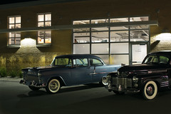 Old Cars (Curtis Gregory Perry) Tags: greenbay wisconsin 1955 chevrolet 210 1941 cadillac series62 62 old classic car vehicle night nikon d810 longexposure automobile automotive museum sedan vintage collector