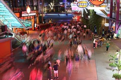 Universal CityWalk at night.  Orlando, FL. (Andy Ziegler) Tags: orlando florida orlandoflorida travel canon6d vacation universalorlando longexposure blur movement nightshot tripod citywalk universal people family 50mm