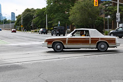 """Hey dude!"" (Can Pac Swire) Tags: toronto ontario canada canadian streetscene street scene car auto automobile vintage chrysler convertible 2door twodoor coupe coupé 2019aimg8181 black man driver woodie body style autmotive"