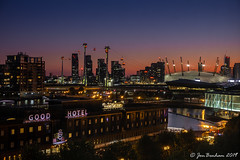 Docklands Afterglow (Jon Benham Photography) Tags: london docklands victoria dock sunset colourful sky buildings architecture cityscape night lights lowlight water reflections emirates airline cablecar o2 fujifilmxt3 royal