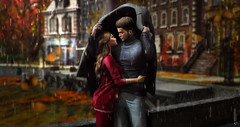 Till Rain Stops (meriluu17) Tags: rain rainy autumn fall warmth couple love coat hide them lovers bridge town lovely people cute inlove deaddollz