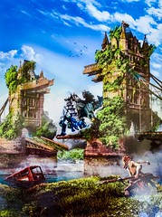 "Poster Art for the Video Game ""Horizon Zero Dawn"" (2017). (lhboudreau) Tags: poster ad advertising advertisement art posterart advertisingposter artwork illustration videogame game horizonzerodawn 2017 postapocalypse postapocalyptic towerbridge riverthames bus doubledeckerbus london england"