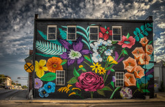 The Flower Garden (donnieking1811) Tags: tennessee cookeville mural art painting building brettwhitacre exterior sky clouds rose gladiolias browneyedsusan hdr canon 60d lightroom photomatixpro