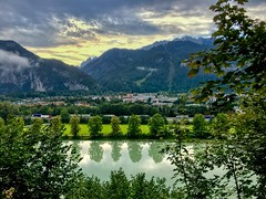River Inn, Kufstein and Kaiser mountains in Tyrol, Austria (UweBKK (α 77 on )) Tags: österreich austria tyrol tirol europe europa iphone river inn kufstein kaiser mountain kaisergebirge flow water reflection tree forest landscape view scene scenic scenery cloud sky