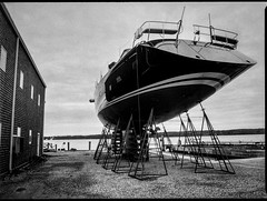 looking up, ship on stands, Lyman Morse Boat Yard, Thomaston, Maine, Mamiya 645 Pro, mamiya sekor 45mm f-2.8, Bergger Pancro 400,  HC-110 developer,  9.13.19 (steve aimone) Tags: lookingup shiponstands ship boat sailingvessel lymanmorse lymanmorseshipbuilders boatyard thomaston maine mamiya645pro mamiyasekkor45mmf28 mamiyaprime primelens berggerpancro400 hc110developer mediumformat monochrome monochromatic blackandwhite 120 120film film