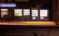 Faster than the Lights (shiruichua) Tags: japan kyoto nighttime vending machine streets long exposure lights streaks photography canont5i 18135mm lens 700d