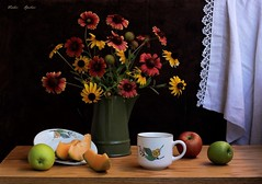 Hint of Autumn Mood (Esther Spektor - Thanks for 16+millions views..) Tags: stilllife naturemorte bodegon naturezamorta stilleben naturamorta art composition flowers bouquet food fruit apple cantaloupe slice tabletop plate cup pitcher curtain ceramics linen wooden pattern lace creativephotography autumn ambientlight white yellow green orange red crimson brown estherspektor canon coth5