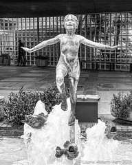 Walking on Water IMG_4412-Edit (Laurie2123) Tags: bnw iphone laurieabbottturner laurieabbotthartphotography laurietakespics odc2019 ourdailychallenge scrippsmemorialhospital water blackandwhite fountain hospital mono monochrome monotone od publicart statue iphone11promax