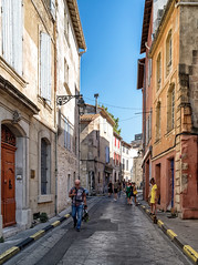 (Trouvaille Blue) Tags: europe france provance arles rue ruedelarcconstantin yellow dress dog trouvailleblue