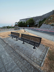 benches at dawn (chrisinplymouth) Tags: bench seat hoe dawn diagonal wideangle desx plymouth devon england plain uk city xg cw69x perspective seafront