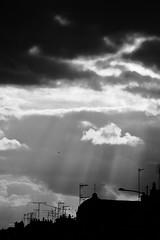 Cieux alençonnais ! (Tonton Gilles) Tags: alençon normandie noir et blanc ombres chinoises ciel nuages rayons de lumière rais rai soleil graphisme paysage urbain