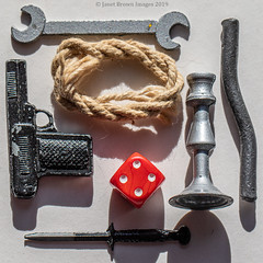 2019 271-365 Cluedo Murder Weapons (kayakingjanet) Tags: cluedo knolling macro macromondays techniques toysandgames 2019365 infinitepossibilities