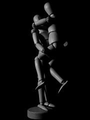 Mannequins Flying Hug! (Andy Sut) Tags: models couple bw blackandwhite monochrome relationship romance love embrace hug studiolighting posed macro wooden wood artists mannequins panasonic lumix uk england nottingham andysutton