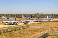 Taxiing C130's and a single C160 for operation Market Garden (Fabke.be) Tags: c130 belgian hercules ch11 eindhoven netherlands usaf usmarines german gaf klu