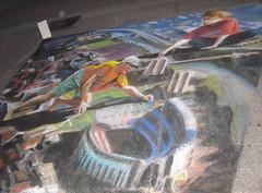 Drawing Ohio Stadium (wwimble) Tags: pastels streetart viacolori 2008 shortnorth columbus ohio ohiostadium horseshoe ohiostate campus olentangyriver artists drawing luminaria osu ohiostateuniversity