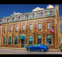 Fergus Ontario  - Canada  - Salon Illumina |- Architecture  Mansard Roof (Onasill ~ Bill Badzo - 67 M) Tags: wellington fergus ontario canada salon hair dresser illuminia 245 saint andrew street w architecture style stone historic heritage building hairdesign downtown wentworthcounty small town walkingtour attraction historical elora centre onasill shingles fish scale county wellingtoncounty french mansard france original