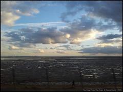 The View From The Train: The Thames Estuary 20160304_165644 (Trevor Durritt) Tags: samsunggalaxysii ©trevordurritt clouds sky essex england throughthewindow train c2c mudflats britain lartigue speed thamesestuary android