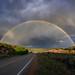 Double rainbow over the Old Las Vegas Highway near Santa Fe, New Mexico