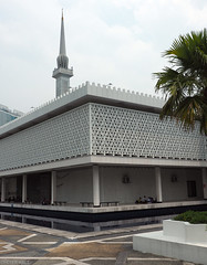 National Mosque Of Malaysia (peterphotographic) Tags: p8021019edwm nationalmosqueofmalaysia olympus em5mk2 microfourthirds mft ©peterhall kl kualalumpur malaysia seasia asia mosque muslim minaret concrete building architecture modernarchitecture palm city cityscape urban