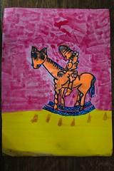 Rocking Horse Boy (Etching Stone) Tags: liquitex paintmarker acrylics sapphireblue finespraycolour schmincke erkrath pen quill nib snapshot stone series canvas canvass cut kite quicksand baby