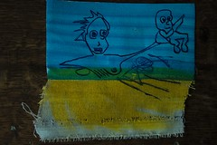 Can someone take the baby please? I'm momentary stuck in quicksand. (Etching Stone) Tags: liquitex paintmarker acrylics sapphireblue finespraycolour schmincke erkrath pen quill nib snapshot stone series canvas canvass cut kite quicksand baby
