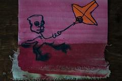 the kite is high, high is the kite (Etching Stone) Tags: liquitex paintmarker acrylics sapphireblue finespraycolour schmincke erkrath pen quill nib snapshot stone series canvas canvass cut kite quicksand baby