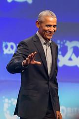 Former American President Barack Obama at the German Startup Conference Bits & Pretzels during Oktoberfest in München