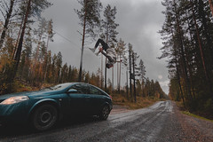 Freerunning stunts (Bjarni53) Tags: woods norway road roadtrip traveling stunt stunts backflip extreem extreemsport parkour freerunning gravel autumn forest trees scandenavia oslo city wide wideangle tokina tokina1116 11mm nikond7500 lightroom