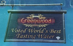 World's Best Tasting Water (Crusty Da Klown) Tags: kootenays greenwood bc britishcolumbia canada worldsbestdrinkingwater sign summer film expired kodak minolta aquifer contest international taste good drinkingwater