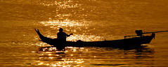 Sunset (chapelhall B & N.) Tags: burma river sunset canoe