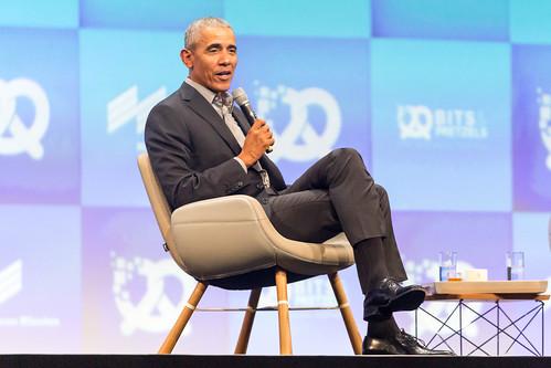 Interview with former US President Barack Obama on stage of the German Internet festival conference Bits & Pretzels, during Oktoberfest in Munich