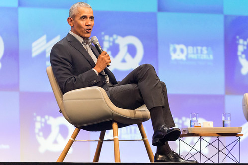 Speaker Barack Obama opens three-day festival Bits & Pretzels and talks front of startup founders and investors in Munich, Germany